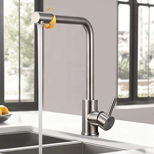 WOOHSE Wasserhahn Küche 360° Drehbar Küchenarmatur aus Edelstahl Spültischarmatur mit Drehbarem Auslauf Mischbatterie Armatur Einhand-Spültischbatterie Gebürsteter Nickel für Spüle, Anti-Fingerabdruck