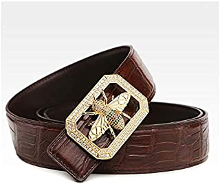 Genuine Leather Men's Belt Crocodile Skin Dress Belt Strap Animal Diamond Buckle Classic Design,Suit Gift Box,Brown,125cm/...