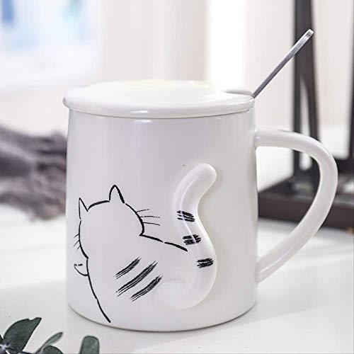 MEIMING1314 Jarra,Taza de café,En Relieve 3D Tridimensional Gato De Cerámica,para Té Beber Desayuno Leche Oficina Niño Regalo 350ML A4
