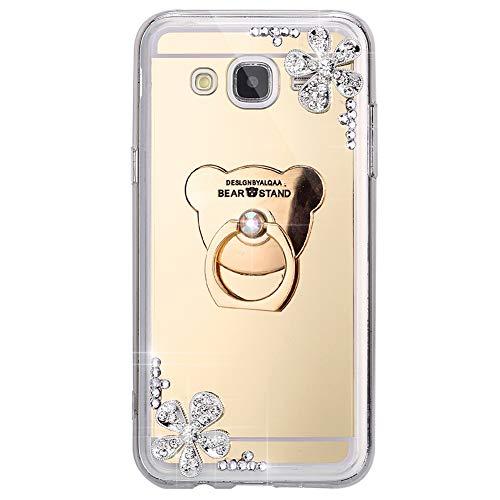 ISAKEN Compatibile con Samsung Galaxy J5 2015 Cover[Ring Holder] - Specchio Design Morbida TPU Custodia Ultra Sottile Glitter Case Kickstand Flip Caso con Diamante Gomma Gel Backcover - Oro