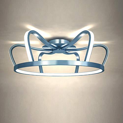 QJUZO Lámpara de Techo Dormitorio Regulable Con Control Remoto, Luz de Techo LED Moderna Para Sala de Estar, Niños, Diseño Creativo de Corona Lámpara de Dormitorio, 41W Plafón Para Niños y Niñas,Azul