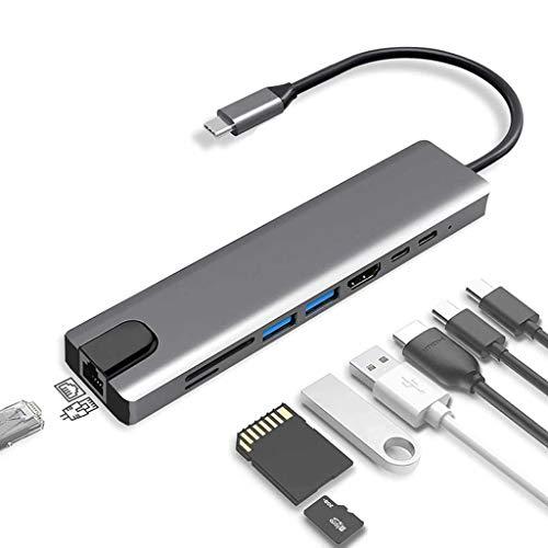 USB C Hub-Computadora Portátil Adaptador USB3.0 Tipo-c a HDMI Base de Expansión Gigabit Ethernet para DELL XPS13 / 15, Thunder 3, Lenovo Yoga5Pro, HP X2, Huawei matebook MacBook Pro/Air