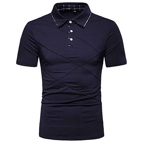 Herren Poloshirt Sommer Gestreifte T-Shirt Polo Kragen Slim Fit Basic Polohemd...