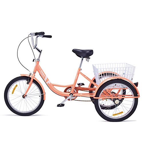 "Viribus Adult Tricycle Three Wheel Trike Bike Cruiser with XL Rear Bike Basket for Dogs or Groceries Single Speed Hybrid Commuter Exercise Bike (Pink2, 26"")"
