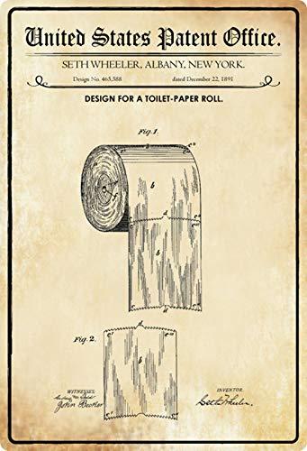 Blechschild 20x30cm gewölbt Patent Entwurf Toilettenpapier Rolle 1891 Deko Geschenk Schild