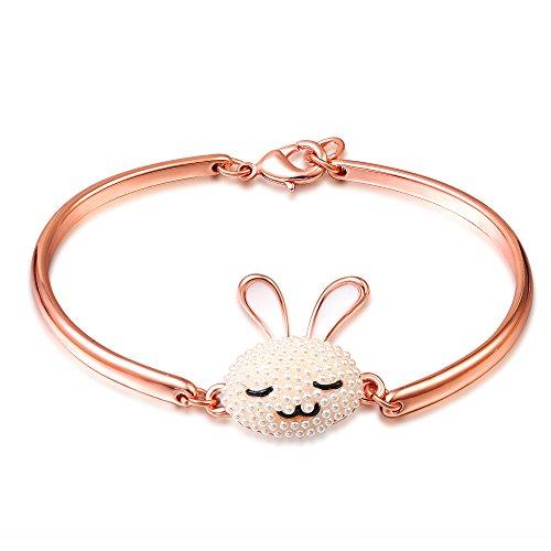 SONGPANNA Braccialetto Donna Bracciale in ceramica placcata oro rosa bracciale (coniglio)