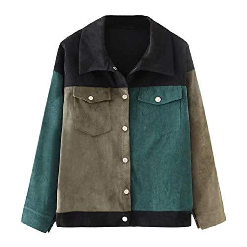 nobrand Frauen Baseball Cord Jacke Top lose Revers Hemd Mantel lässig Vintage Oversize Patchwork Kurze Jacke Mantel