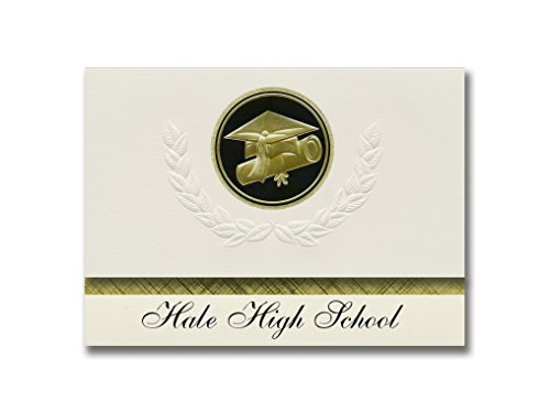 Signature Announcements Hale High School (Hale, MI) Graduation Announctions, Presidential Style, Elite Paket mit 25 Cap & Diplom Siegel Schwarz & Gold