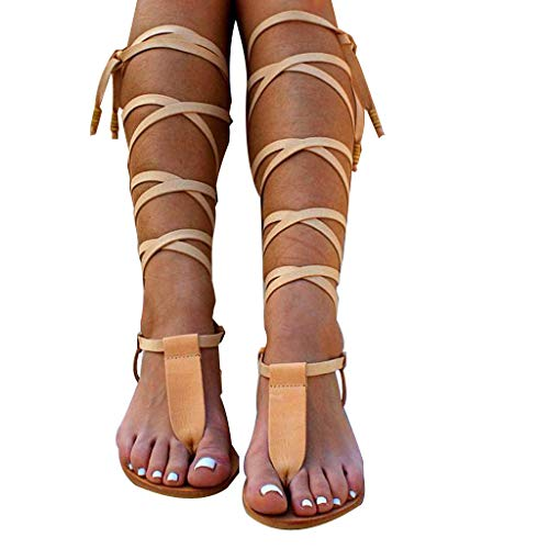 siilsaa Sandals Women's Casual Summer Flat lace-up Sandals Open Toe Beach Travel Sandals Roman Shoes flip Flops