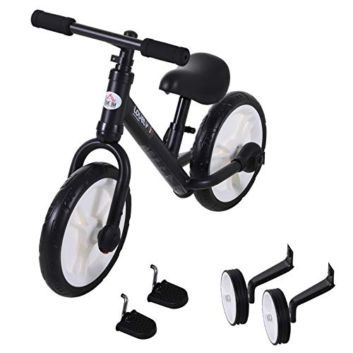 HOMCOM 11 Inch Kids Balance Bike Training Pedal Bicycle W/ Removable Stabilizers EVA Tyres Adjustable Seat Height 2 to 5 Years Black