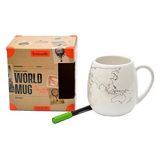 Trouvaille Welt XL Kaffeebecher mit Keramikstift zum Ausmalen - Trouvaille Weltkarte XL Kaffeetasse Teetasse