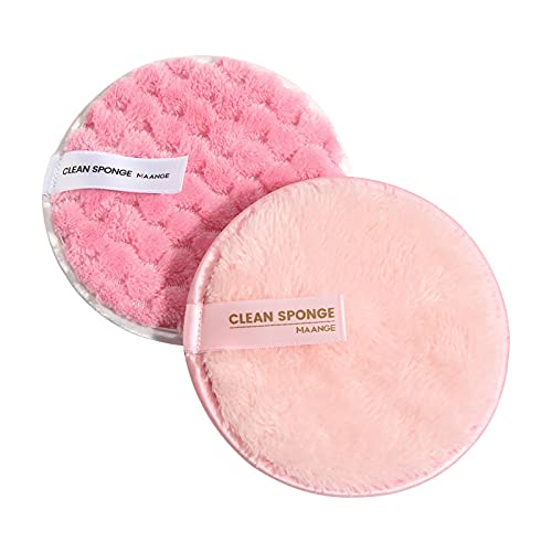 Yukong Lot de 2 houppettes à poudre rondes pour maquillage du visage - Rose