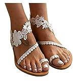 Sunhusing Roman Sandals Summer Women's Slip-On Flat Shoes Open Toe Lace Trim Ankle Strap Beach Slipper Sandals(White,39)