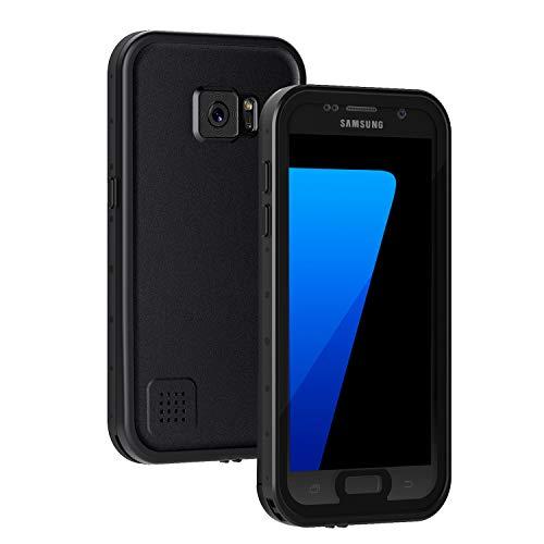 Lanhiem Samsung S7 fodral, IP68 vattentätt dammtätt stötsäkert fodral med inbyggt skärmskydd, heltäckande tätat undervattensskydd för Samsung Galaxy S7 (svart)