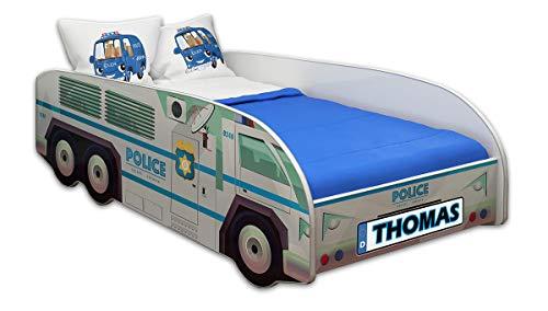 ACMA Kinderbett Autobett Lattenrost LKW Truck Schlafzimmer Kindermöbel Spielbett 140 x 70 cm 160 x 80 cm (160x80 cm mit Matratze, 01 + Name)