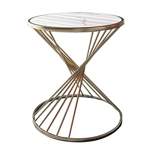 SZQ-Bijzettafels Slaapkamer Nachtkastje, Marble Pattern Metal Stand Round Table Living Room Office Decoration Sofa Table gemakkelijk schoon te maken Salontafels (Color : A, Size : 45 * 55CM)