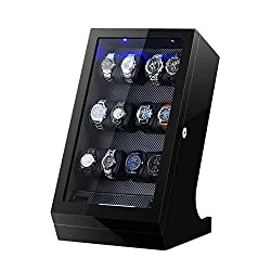 Wooden Automatic Watch Winder Case with LCD Touch Screen for 12+2 Watches