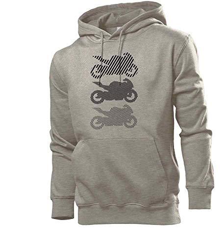 Sudadera con capucha para hombre, diseño de moto, color negro gris XXXL