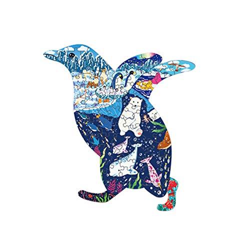 YOOXI Hölzernes Puzzle, Natur-thematisches Familienspiel, Höllen-Tier-Holzpuzzle, unregelmäßiges dreidimensionales Tier-3D-Puzzle, Erwachsene und Kinder, Penguin
