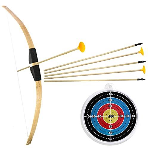 Ora-Tec Bambus Bogenschießen Set 1x Bambusbogen 3X Gummispitz-Pfeile 3X Saugnapfpfeile 1x Zielscheibe für Kinder ab 6 Jahre - Indoor Outdoor Holzbogen Spielzeug Bogen-Set (1x Standardset mit Zubehör)