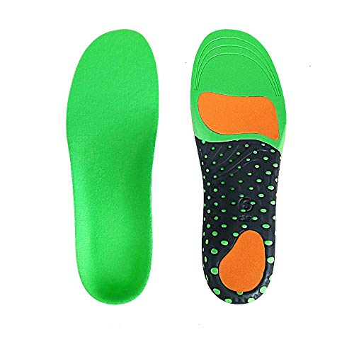 LANGYINH Arch Support Shoe Insoles,Flat Feet Orthotic Inserts,Plantar Fasciitis Insoles,Best Shock Absorption Breathable Insole for Men and Women,Green,S(36~41)