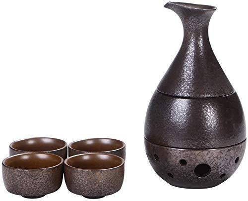 AMYZ Juego de 7 Piezas de Sake japonés,Juego de Copas de Vino con Olla y Horno de Calentamiento,diseño de Color óxido,para té frío/Caliente/Shochu/té, Familiares y Amigos para