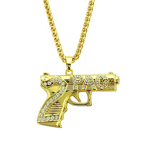 Qiulv Hip Hop Pistola Uzi Pendente Iced su Collana d'oro Pistola Forma Pendente 18 carati Oro Placcato Bling Collegamento Intarsio Cubo Zirconia CZ Gioielli Moda Personalizzata Rap Catena per Unisex