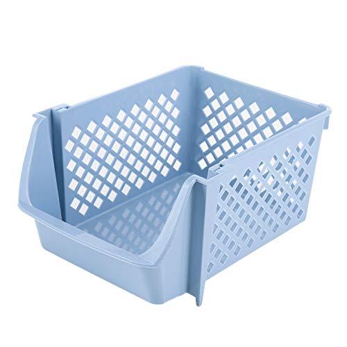 SODIAL Organizador Apilable de Cesta de Almacenamiento de Frutas y Verduras de Cocina para Alimentos Aperitivos Juguetes Artículos Tocador Contenedores de Almacenamiento de Plástico Azul