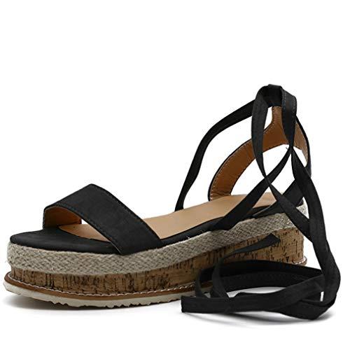 Sommer Frauen Plattform Pumps Open Toe Rom Gladiator Schnürsandalen Einfache Bohemia Beach Schuhe Casual Wedge High Heels