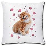 TRIOSK Kissen mit Katzenmotiv lustig Katze Rosa Herzen Dekokissen Geschenk für Katzenliebhaber...