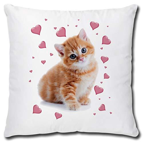 TRIOSK Kissen mit Katzenmotiv lustig Katze Rosa Herzen Dekokissen Geschenk für Katzenliebhaber Frauen Mädchen Kinder Zierkissen Füllung 40x40 Weiß Beige