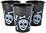 Bulk Pack Halloween Plastic Cups   50 16 Oz Spooky Black and White Skull and Bone Design   Disposable Party Cups For Halloween Party Supplies Mega Party Pack of 50 Cups