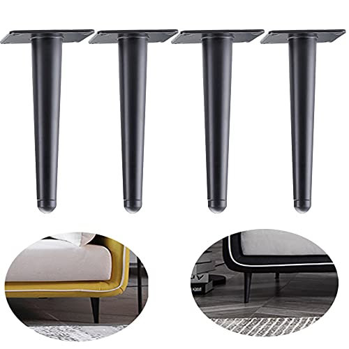 ALXEH Straight Furniture Table Legs 8 Inch, Round Tapered Metal Furniture Legs Black, Modern Dresser Cabinet Sofa Support Feet Replacement, Set of 4