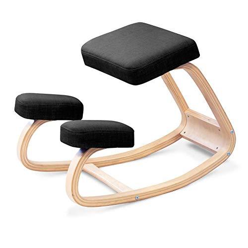 H&RB Ergonomica Sedia ergonomica, Indietro correzione della Postura Sgabello di Legno per L'Ufficio e la casa, a Dondolo Kneel Seduta con Cuscini ortopedici Soft Knee,Nero