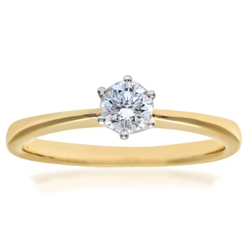Naava EGL Women's 18 ct Yellow Gold 0.3 ct Certified Diamond Solitaire Engagement Ring, Size K, GSI2