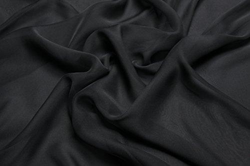 Escalano 100% Reine Seide Chiffon Seidenchiffon Silk Meterware 0,5 m 100% Italienische Seidenkleid Seidenstoff (Schwarz Breite:121cm)