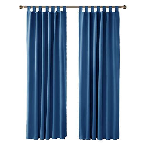 Deconovo Vorhang VerdunkelungThermo Vorhänge Schallschutz mit Schlaufen 210x140 cm Blau 2er Set