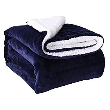 HoroM Sherpa Throw Blanket Navy Blue 60 x80  Microfiber Reversible Bed Throws Luxury Soft Cozy Fluffy Warm and Fuzzy Blankets for Bed or Couch