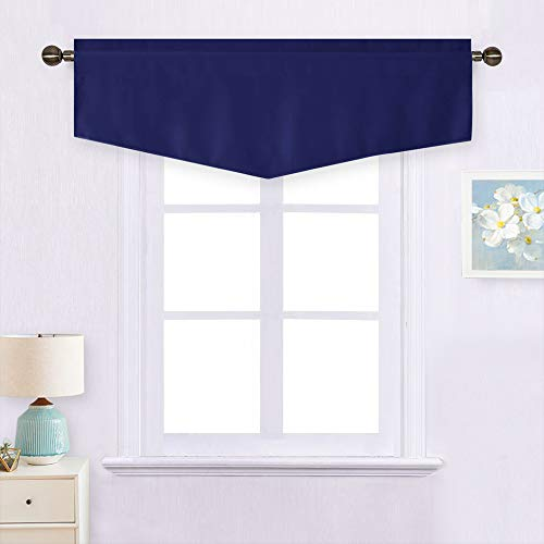 NICETOWN Window Curtain Valance - Thermal Insulated Blackout Ascot Pole Pocket Valance Tier Small Window Treatment Curtain Panel for Kitchen/Bathroom, 52W by 18L inches, Navy Blue, 1 Panel