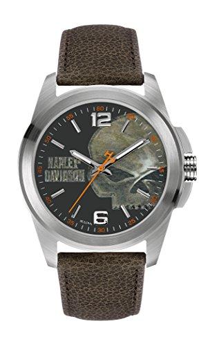 Harley Davidson Herren Analog Quarz Uhr mit Leder Armband 76A146
