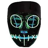 Di&Mi Máscara de alambre con luces LED EL Wire para disfraz de cosplay, para carnaval, fiestas de noche (negro)