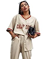 SheIn Women's Letter Graphic Oversized Contrast Striped Button Front Tunic Blouse Khaki Small