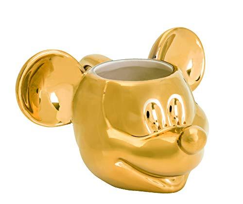 Joy Toy Mickey Mouse Deluxe Tazza 3D in Ceramica Dorata, Oro