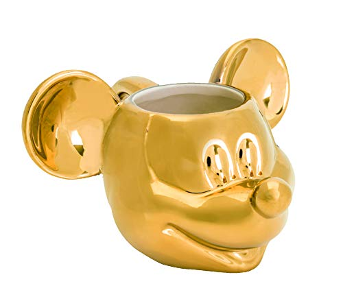Joy Toy 62147Mickey Mouse Deluxe 3d goldige Taza de cerámica (13,5x 12x 8,5cm), color dorado