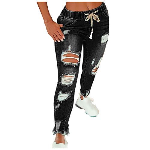 Ghemdilmn Fashion Streetwear - Pantalones vaqueros para mujer, ajustados, cómodos, talla grande, rectos, holgados, ajustados, con agujeros, cintura alta, pantalones largos y rectos. Negro XXXL