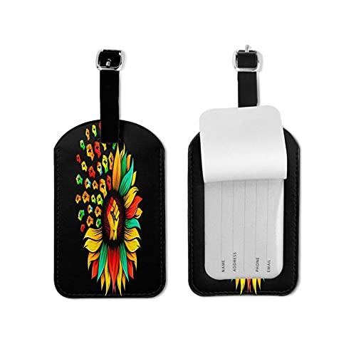 Tvuirw Girasole e Mano American Pride Vector Etichetta Bagagli in Microfibra PU Pelle Sintetica Etichetta Unisex Universale Viaggio Indossare Carino Piccolo Etichetta Bagaglio