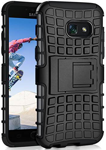 MoEx Samsung Galaxy A5 (2017) Hülle Silikon Hard-Case Schwarz [OneFlow Outdoor Back-Cover] Extrem Stoßfest Schutzhülle Grip Handyhülle für Samsung Galaxy A5 2017 Case Rückseite Tasche