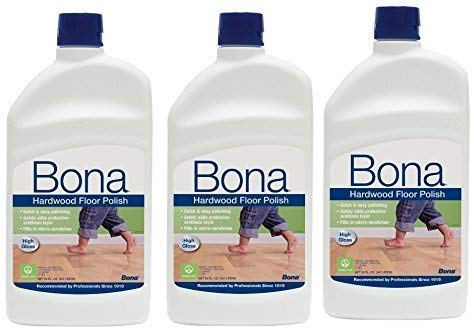 3 PACK Bona Hardwood Floor Polish - High Gloss, 36 oz