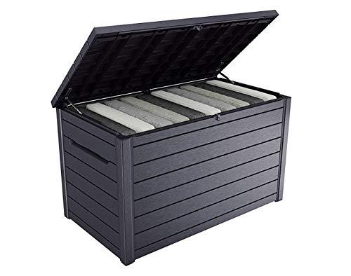 Koll Living Garden XXL Gartenbox mit gewaltigen 870 Liter Fassungsvermögen - trockener und belüfteter Stauraum für viele Gartenutensilien (Anthrazit)
