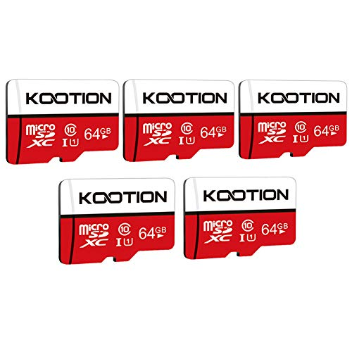 KOOTION 5-Pack 64GB Micro SD Card Class 10 Micro-SDXC Memory Card UHS-I, High Speed Flash TF Card for Security Camera/Smartphone/Drone/Dash Cam/Tablet/PC, C10, U1, 64GB 5pack